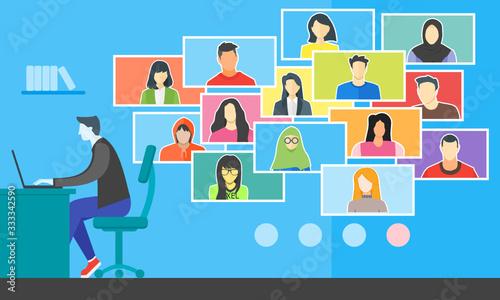 Obraz na plátně Remote Learning Online College Class