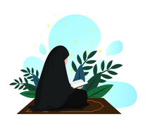 Moslem Women Read Quran, Elegant Flat Illustration, Suitable For Education, Ramadan, Happy Iftar And Eid Al Fitr, Modern Islamic Poster Design
