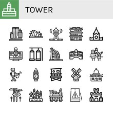 Set Of Tower Icons