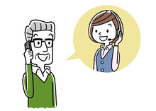 Stock Illustration: Call Center, Senior Man Talking With Operator Woman