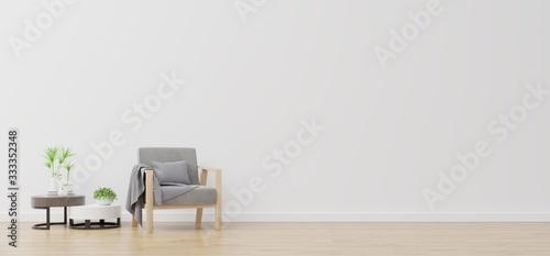 Fototapeta White wall with armchair in living room. obraz