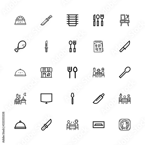 Valokuvatapetti Editable 25 dining icons for web and mobile