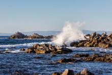 Waves Crashing On The Rocks In...
