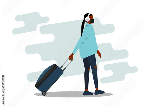 African-american woman wearing face mask travelling aboard vector illustration Wallpaper Mural