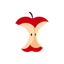 An Eaten Apple Single Isolated On White, Icon Red Apple Eating Sequence, Bitten Red Apple Fruit Cartoon, Illustration Red Apple An Eaten Simple Symbol