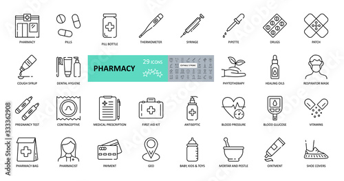 Valokuvatapetti Vector pharmacy icons