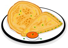 Aloo Matar Paratha Indian Street Food Vector