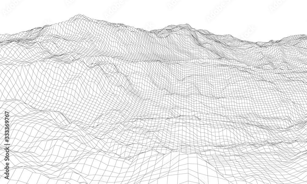 Fototapeta Abstract 3d wire-frame landscape. Blueprint style