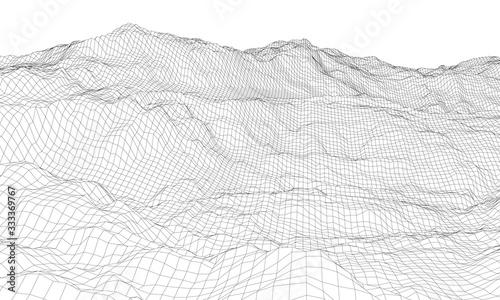 Vászonkép Abstract 3d wire-frame landscape. Blueprint style