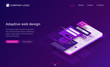Adaptive interface design isometric landing page. User experience, ui ux mobile phone layouts, online form for login and password enter. Mobile app development, gadget software 3d vector web banner
