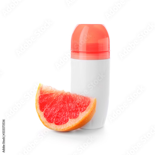 Deodorant and grapefruit on white background Canvas Print