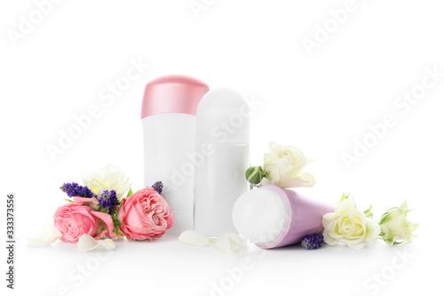Different deodorants on white background Canvas Print