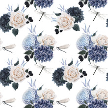 Beautiful Vector Seamless Floral Pattern With Watercolor Blue Flowers, White Roses And Dragonflies . Stock Illustration.
