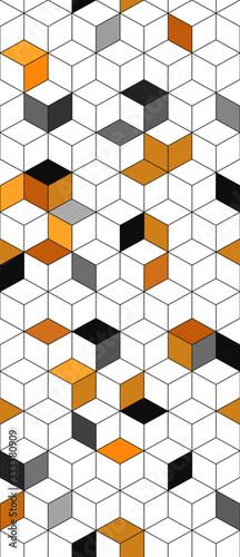 Okleiny na drzwi - przestrzenne 3D  geometric-triangular-3d-cube-yellow-and-black-modern-texture-trendy-seamless-pattern