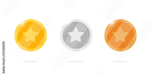 Fotografía Gold silver bronze medal coin set with star for video game or apps animation