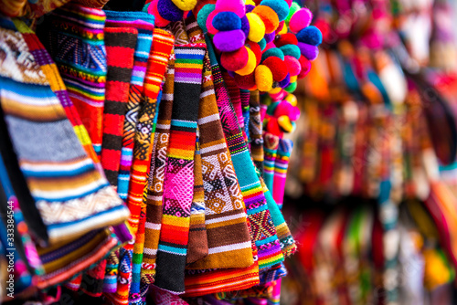 Tableau sur Toile Closeup of light striped handbags on the souvenir store in Bolivia