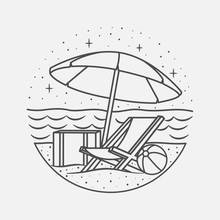 Vacation Summer Beach Vintage Vector Line Art Illustration. Isolated Vector.