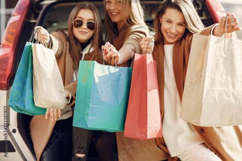 Obraz na plátne Girls on a shopping