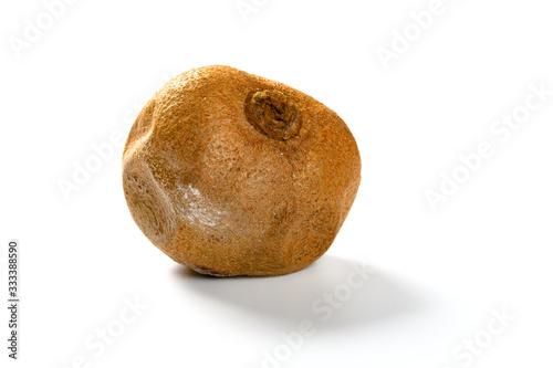 Vászonkép moldy kiwi fruit on a white background