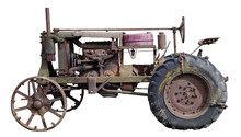Rusty  Retro Small Rural  No Name Tractor Isolated