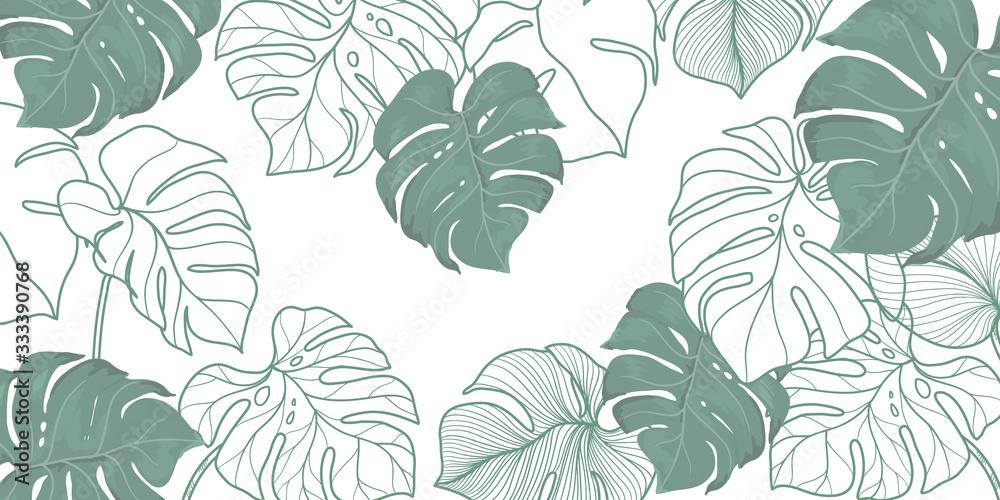 Fototapeta luxury vintage floral line arts golden wallpaper design. Exotic botanical wallpaper, vintage boho style for textiles, fabric, paper, banner website, cover design Vector illustration.