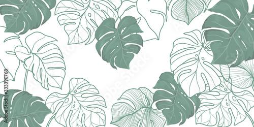 Obraz luxury vintage floral line arts golden wallpaper design. Exotic botanical wallpaper, vintage boho style for textiles, fabric, paper, banner website, cover design Vector illustration.  - fototapety do salonu