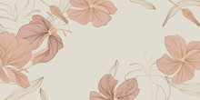 Luxury Vintage Floral Line Arts Wallpaper Design. Exotic Botanical Wallpaper, Vintage Boho Style For Textiles, Fabric, Paper, Banner Website, Cover Design Vector Illustration.