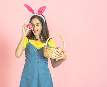 Woman Wear Bunny Ear And Hold ...