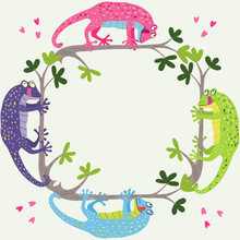 A Nice Square Frame With Cute Colorful Geckos Hanging On The Branches. Vector Hand Drawn Illustration Isolated On Light Background. Pink, Green, Turquoise And Purple Colors.