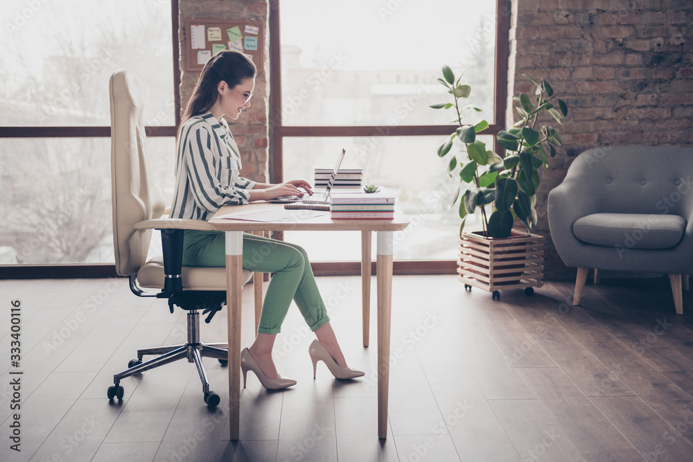 Fototapeta Full length profile side photo of positive smart smm manager girl sit table work laptop have online startup progress aim earnings development training coaching in workplace