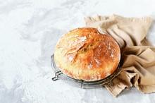 Tasty Homemade Bread On A Gray...