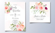 Beautiful wedding invitation card template set with colorful floral frame