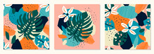 Set Of Trendy Paper Cut Collage With Abstract Floral Elements, Seamless Pattern In Flat Design Contemporary Style, Vector Illustration