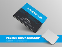 Realistic Vector Book Template, With Abstract Pattern, In Blue And Black Hardcover, For Presentation Design.