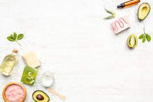 Top View Of Organic Soaps And ...