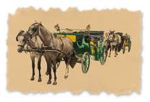 Two Old Carriages Pulled By A Couple Of Horses - Image Isolated On White Background For Easy Selection - Retro Style Concept Image With Recycled Cardboard