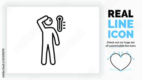 Photo real line icon of a outline stick figure having a high fever and feeling hot wit