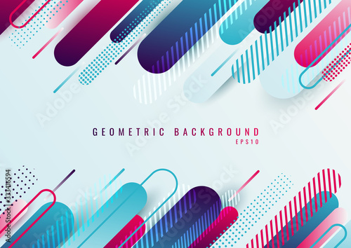 Fotomural Abstract blue and pink geometric rounded line diagonal pattern on white backgrou