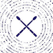 Blue Drum Sticks Icon Isolated On White Background. Musical Instrument. Abstract Circle Random Dots. Vector Illustration