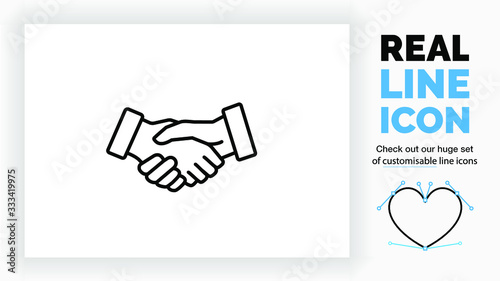 Editable real line icon of two business people closing a deal or contract by a h Canvas Print