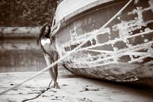Beautiful Girl In Bikini Posin...