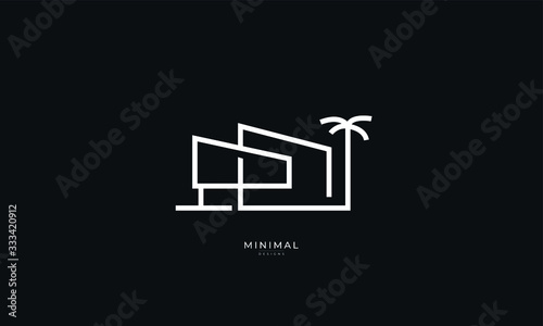 Photo A line art icon logo of a modern house , luxury house , holiday house and a palm