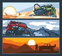 Three Banners With Off-road Ve...