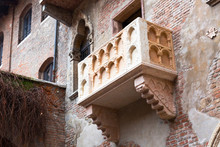 """Juliet's Balcony From Shakespeare's """"Romeo And Juliet"""" Tragedy In Verona, Italy"""