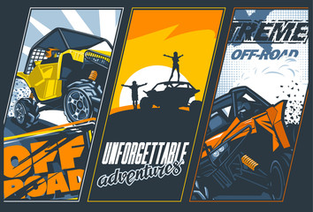 Poster of three banners with UTV`s off-road vehicles. Vector graphics.
