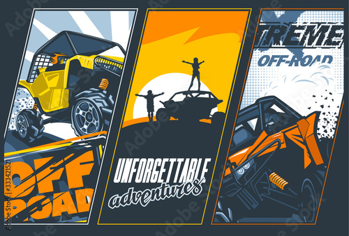 Fotografía Poster of three banners with UTV`s off-road vehicles
