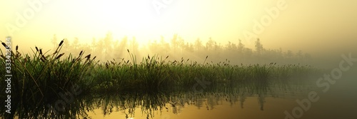 Panorama of the river bank at sunrise in the fog, the lake in the haze, morning Tapéta, Fotótapéta