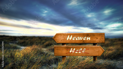 Street Sign Heaven versus Hell Wallpaper Mural
