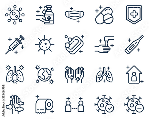 Leinwand Poster Set of corona virus, medical, and disease icon vector illustration in outline style