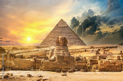 Lightning over pyramid
